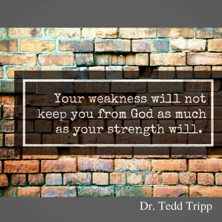 Your weakness will notkeep you from God as muchas your strength will. (2)